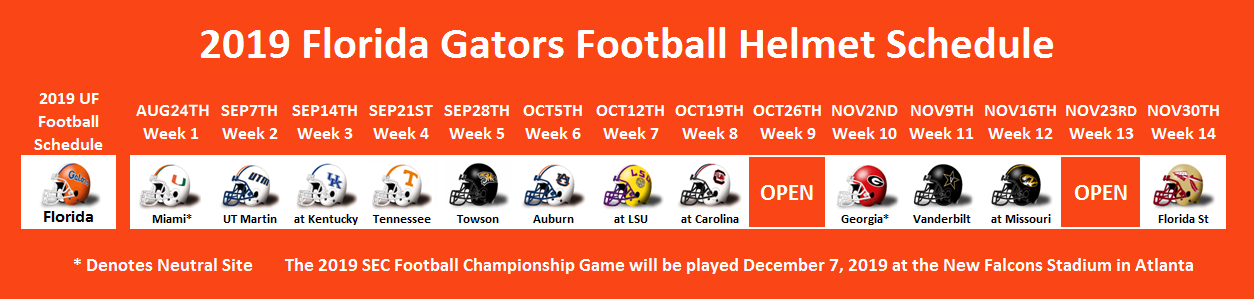 2019 Florida Football Helmet Schedule